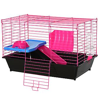 PawHut Small Animal Cage Rabbit Guinea Pig Hutch Pet Play House w/ Platform Ramp Food Dish Water Bottle Hay Feeder Safe Home