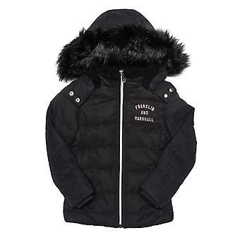 Girl's Franklin And Marshall Junior Fur Hood Parker Jacket in Black