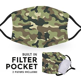 Jungle Camo - Reusable Childrens Face Masks - 2 Filters Included
