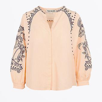 Teoh & Lea - Embroidered Palms Blouse - Tangerine