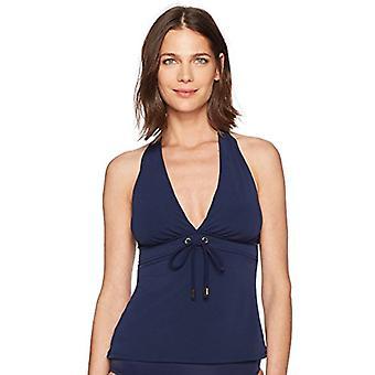 العلامة التجارية - الساحلية الأزرق المرأة & ق التحكم ملابس السباحة هالتر الرقبة Tankini الأعلى ...