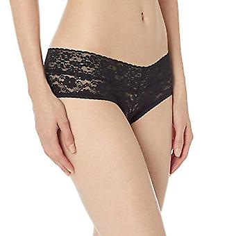 Brand - Mae Women's Galloon Lace Cheeky Panty, 3 Pack, Jet Black, Charcoal Grey, Ivory, Small
