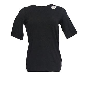 G.I.L.I. Women's Top Knit Elbow Sleeve W/ Cut-Out Detail Zwart A368153