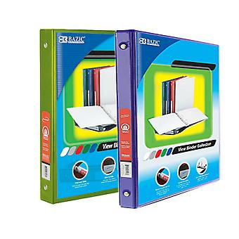 Combo33, BAZIC 1/2 Inch 3-Ring View Binder with 2-Pockets (Case pack of 24 consist 12-Lime Green & 12-Purple)