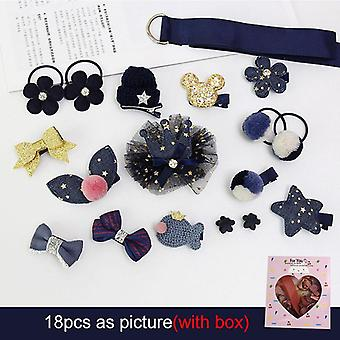 18pcs/set Girls Headwear Set Princess Hairdress Beauty Hair Clip Hairpi Pretend Play Toys Children- Beauty Accessories