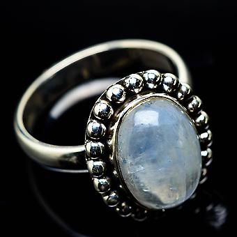 Rainbow Moonstone Ring Size 9 (925 Sterling Silver)  - Handmade Boho Vintage Jewelry RING24860