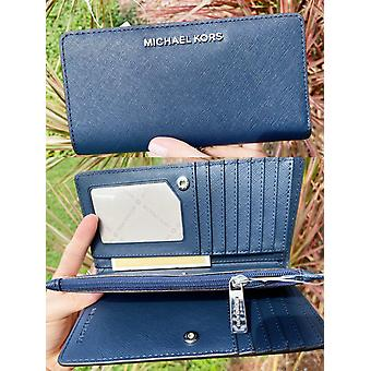 Michael kors jet set large bifold wallet center zip navy saffiano