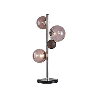 Table Lamp, 3 x G9, Polished Chrome, Smoked Glass