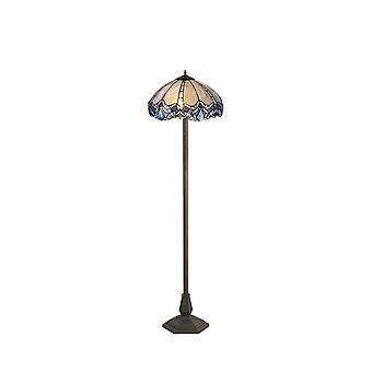 2 Lampada da pavimento ottagonale leggera E27 con 40cm Tiffany Shade, Blu, Cristallo chiaro, Ottone Antico Invecchiato