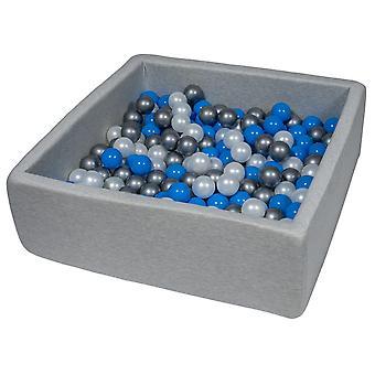 Poço de bola quadrada 90x90 cm com 300 bolas mãe de pérola, azul e prata