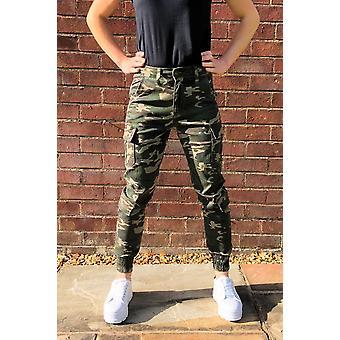 High Rise camuflagem escura algemado cargo calças utilitário calças