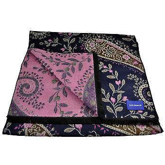 Ties Planet Lupi Romani Navy, Brown, Ivory & Pink Flower Patterned Scarf