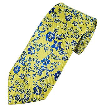 Ties Planet Yellow & Royal Blue Flower Patterned Men's Tie