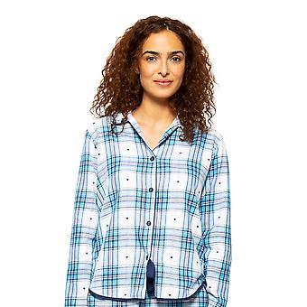 Cyberjammies Stella 4617 Women's White Mix Heart Dobby Check Pyjama Top