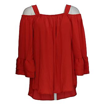 Laurie Felt Women's Top Woven Blouse w/ Cold Sholders Red A292617