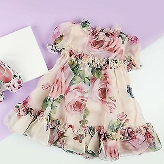 New Princess Floral Tulle Dress, Kid Baby Flower Puff Sleeve Wedding Party