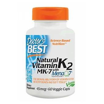 Doctors Best Natural Vitamin K2 Featuring MenaQ7, 45 mcg, 60 VCaps