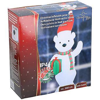 Eisbär aufblasbar 240 cm LED Aufblasbär Weihnachten Polar Deko Christmas mit Motor Blow Up