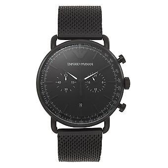 Armani Ar11264 Matta musta verkko ruostumaton teräs Men's Watch