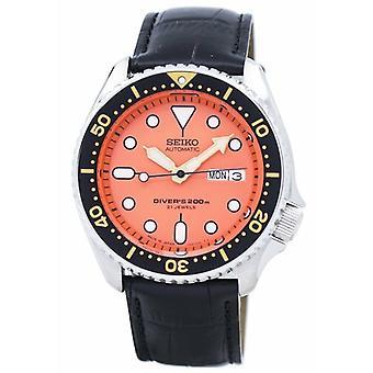 Seiko אוטומטי צולל & יחס שחור עור Skx011j1-ls6 200m גברים&s שעון