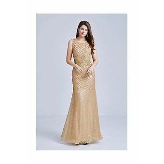Gold glitter & ball sleeveless maxi dress