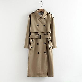 Women Casual Solid Color Double Breasted Outwear Sashes Office Coat  Long