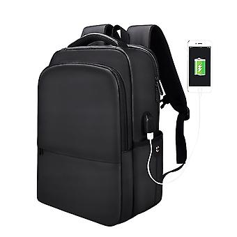 Polyester Waterproof Laptop Backpack for Below 15 inch Laptops, with USB Interface Trunk Trolley Strap(Black)