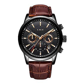 Lige Luxury Watch for Men with Leather Strap - Anologue Mechanical Movement for Men Quartz Black