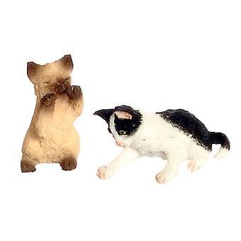 Nuket Talo Siamilainen kissanpentu &; Mustavalkoinen kissanpentu leikkii 1:12 Lisävaruste lemmikit
