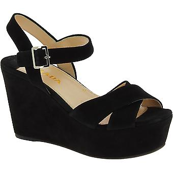 Prada Women's high wedges sandals side buckle closure in black suede leather