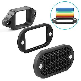Selens mn-bk 2 in 1 universal honeycomb grid with 7 color gels kit for flash camera speedlight photo