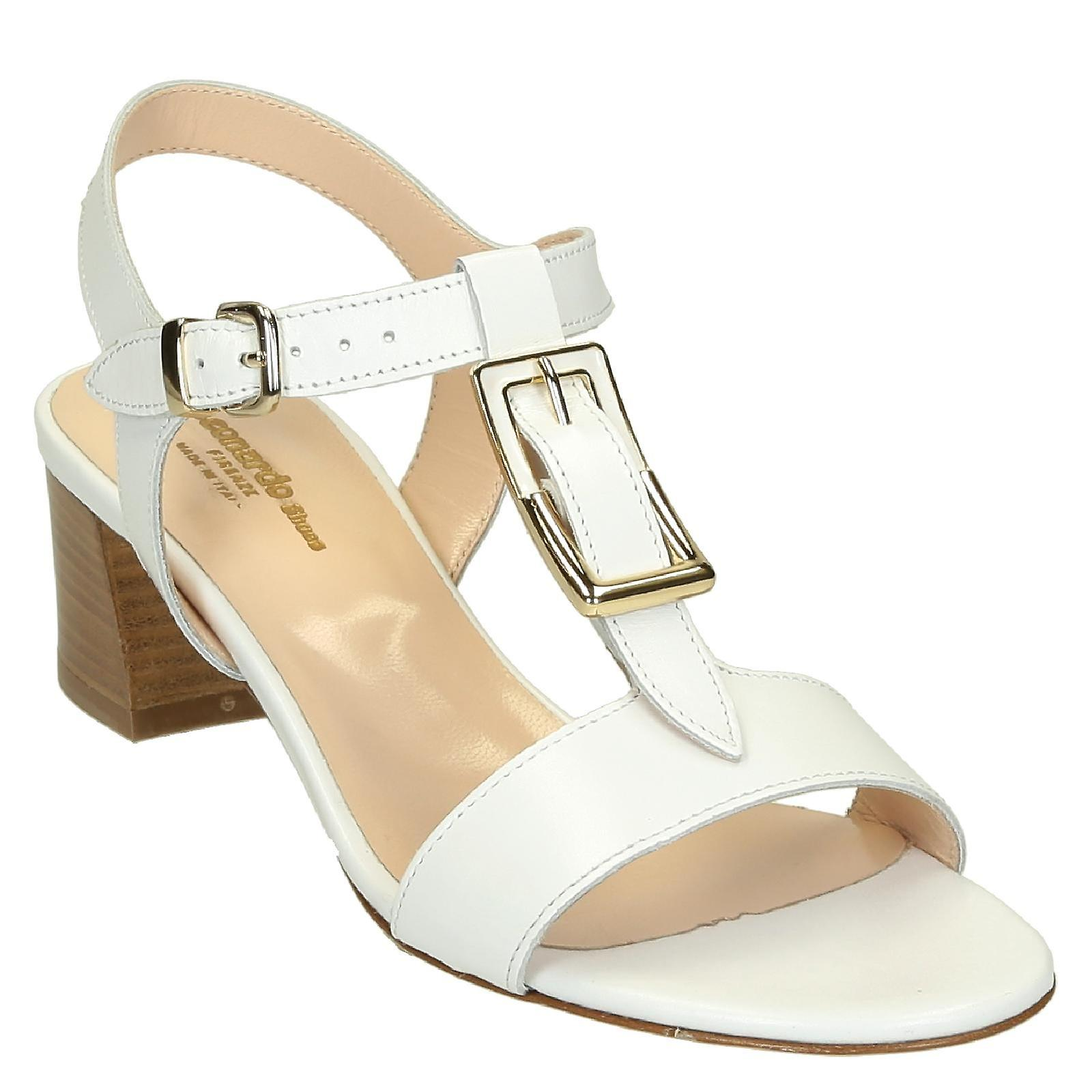White leather heeled strappy sandals handmade AOiM7