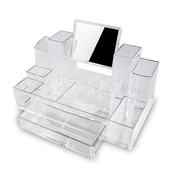 Organizador de maquiagem XL com 13 compartimentos e espelho e gaveta 1