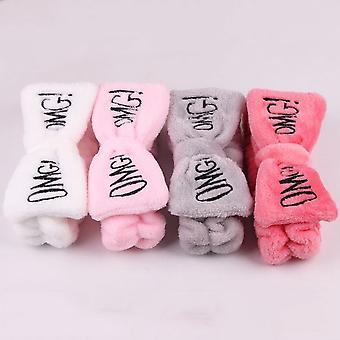 "New Letter ""omg"" Coral Fleece Soft Bow Headbands Hair Accessories"