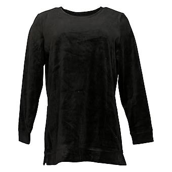 Denim & Co. Women's Velour Long Sleeve Tunic With Pockets Black A390299