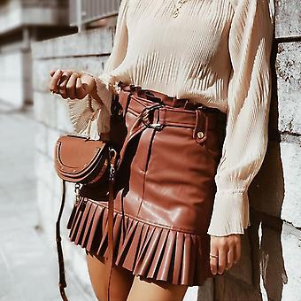 Υψηλή μέση Pu δέρμα πτυχωτά βολάν στερεά μίνι φούστα