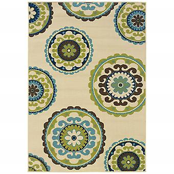 5' x 8' Ivory Indigo and Lime Medallion Disc Indoor Outdoor Area Rug