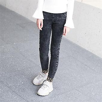 Children Korean Fashion Jeans Leopard Elastic Waist Denim Pants