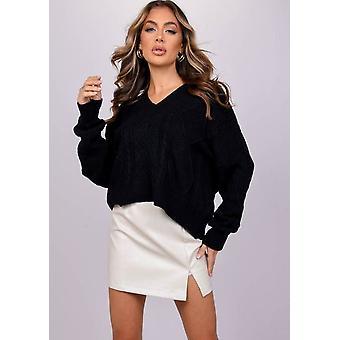Oversized Tie Back Chunky Cable Knitted Jumper Zwart
