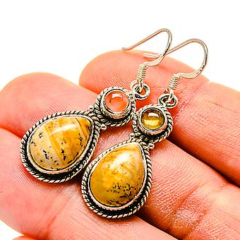 "Ocean Jasper, Citrine 925 Sterling Silver Earrings 1 3/4""  - Handmade Boho Vintage Jewelry EARR413369"
