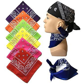 Fashion Hip Hop Men Women Bandana Sports Headwear Paisley Bandana Wrist Hairwrap Double Sided Head Wrap Scarf Headwear