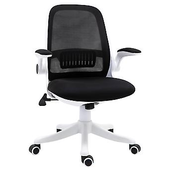 Vinsetto Swivel Office Chair Breathable Fabric Study Computer Chair with Flip-Up Arm for Home, Black