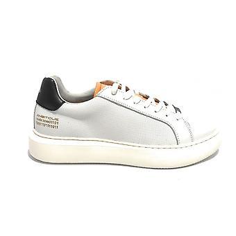 حذاء الرجال الطموح 10634a أحذية رياضية في الجلد الأبيض / أسود عالية أسفل Us21am10