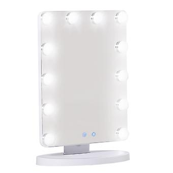 HOMCOM Hollywood Vanity Mirror with 12 Dimmable Bulbs, Multiple Color Modes, Table Top Makeup Mirror for Dressing Table, Smart Touch Control, Plug in