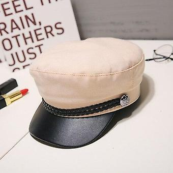 Leather Military Hat  For  Men Flat Top Captain Cap