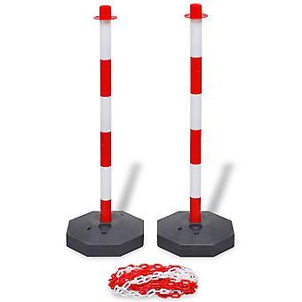 set de poteau vidaXL avec chaîne de blocage 10 m en plastique
