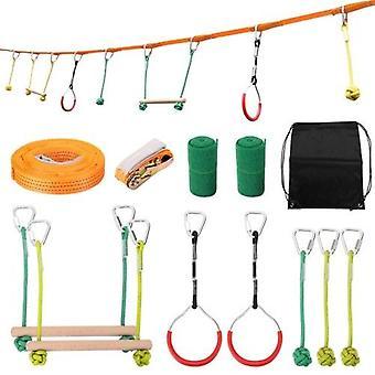 Lapset kiipeilevät Ninja Rope Ninja Line Esteharjoitteluvälineet Lapset Hauska Slack Line Ulkona Lasten urheiluvälineet