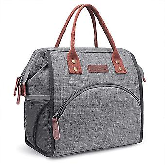 Oxford Large Capacity Lunch Bag Insulated Canvas Food Bag Tote Picnic Thermal Lunch Bags(gray)