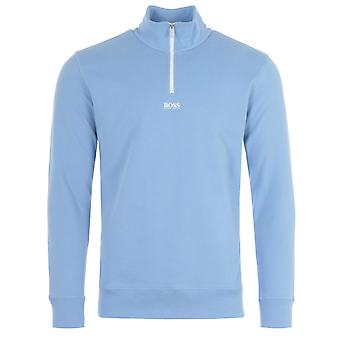BOSS Central Logo Sustainable Half Zip Sweatshirt - Pale Blue