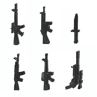 6db hadsereg számok Mini Pvc szimulációs Guns Knifes Toyset